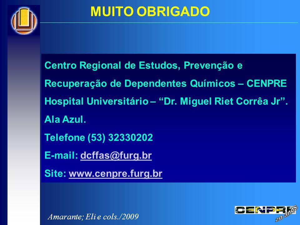 MUITO OBRIGADO Centro Regional de Estudos, Prevenção e Recuperação de Dependentes Químicos – CENPRE.