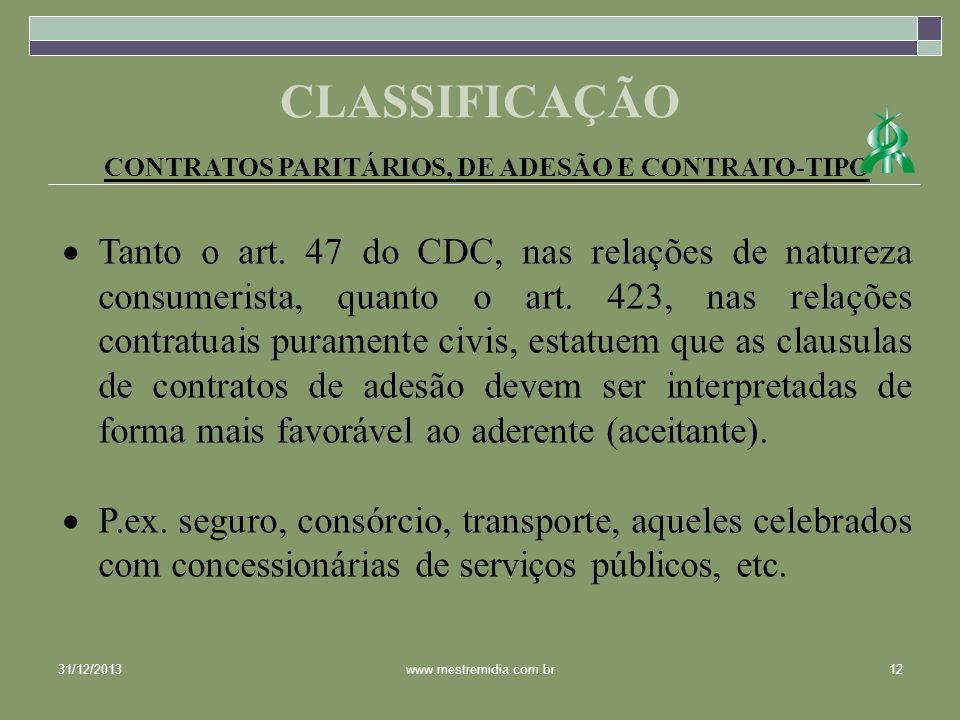 CONTRATOS PARITÁRIOS, DE ADESÃO E CONTRATO-TIPO