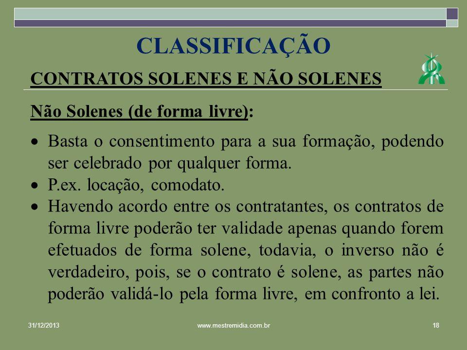 CLASSIFICAÇÃO CONTRATOS SOLENES E NÃO SOLENES