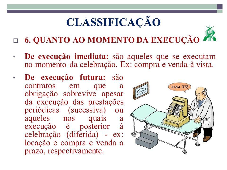 CLASSIFICAÇÃO 6. QUANTO AO MOMENTO DA EXECUÇÃO