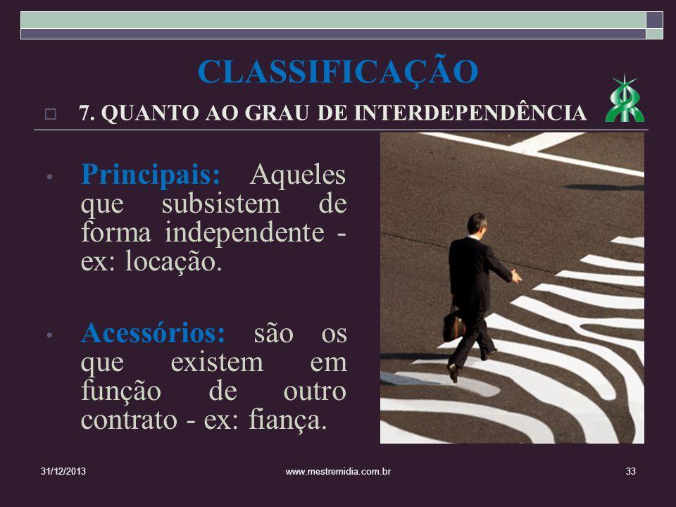 CLASSIFICAÇÃO7. QUANTO AO GRAU DE INTERDEPENDÊNCIA. Principais: Aqueles que subsistem de forma independente - ex: locação.
