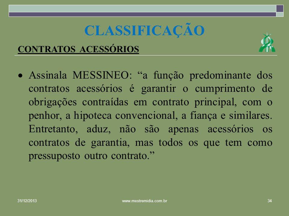 CLASSIFICAÇÃOCONTRATOS ACESSÓRIOS.