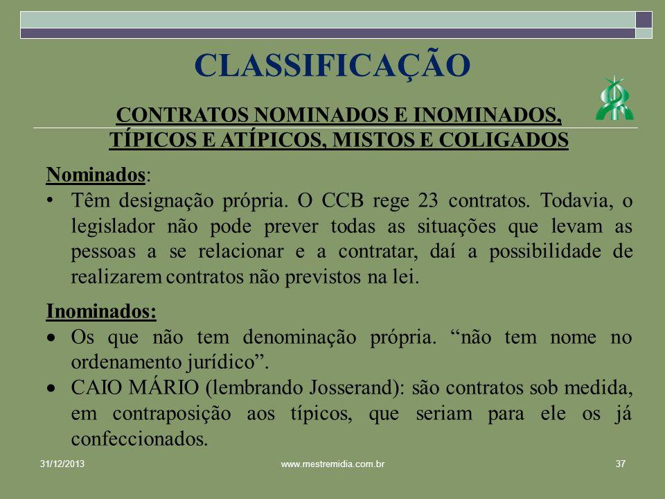 CLASSIFICAÇÃO CONTRATOS NOMINADOS E INOMINADOS,