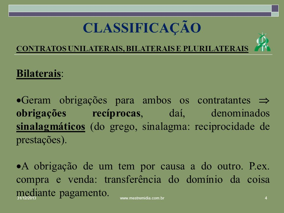 CLASSIFICAÇÃO Bilaterais: