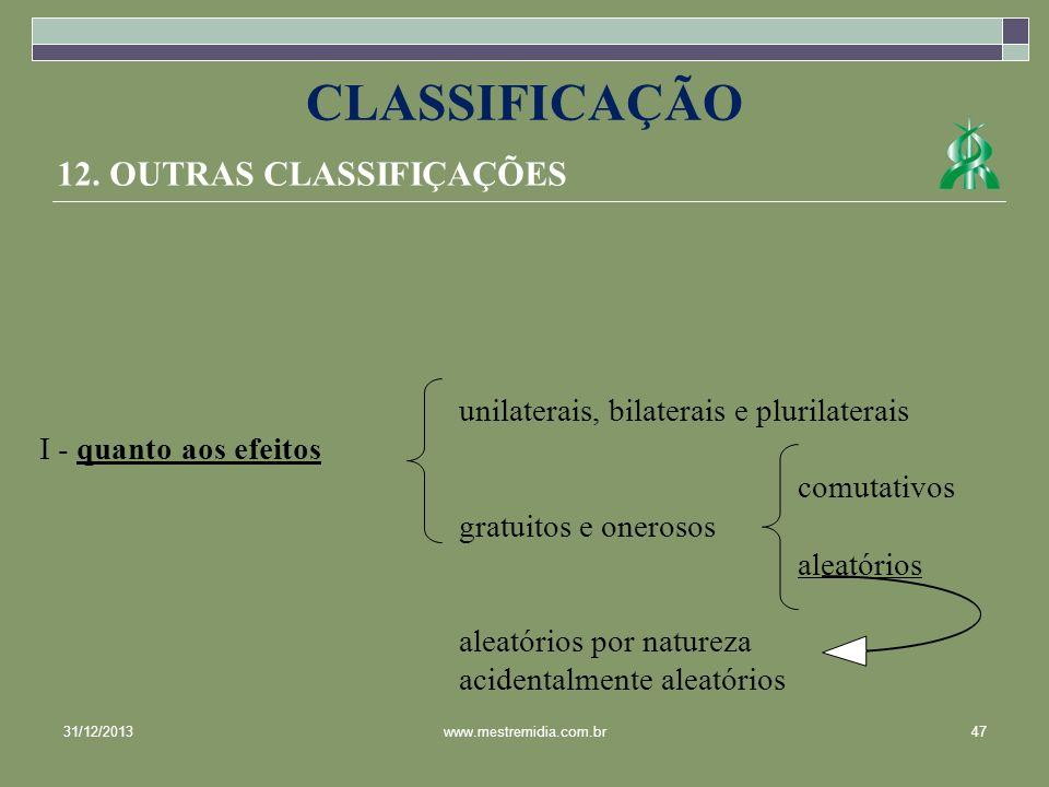 CLASSIFICAÇÃO 12. OUTRAS CLASSIFIÇAÇÕES
