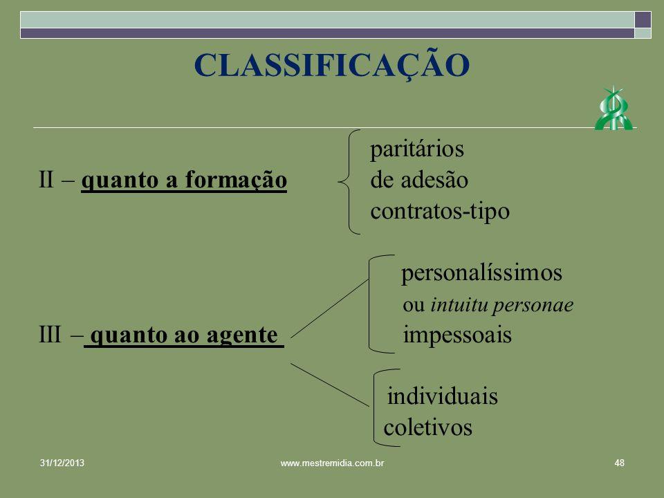 CLASSIFICAÇÃO paritários II – quanto a formação de adesão