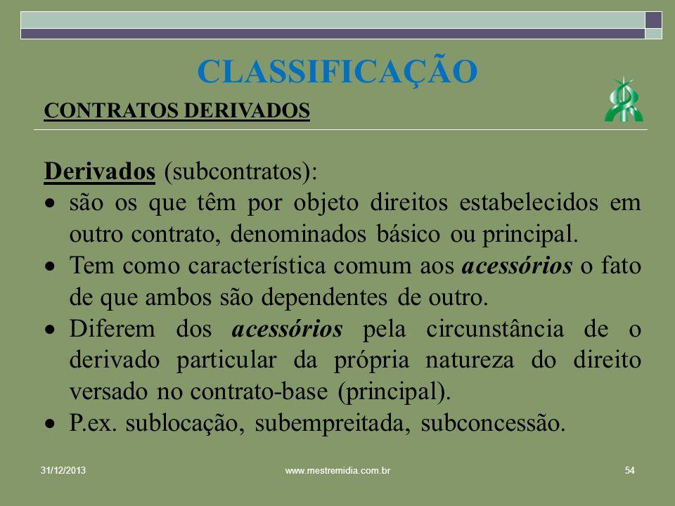 CLASSIFICAÇÃO Derivados (subcontratos):