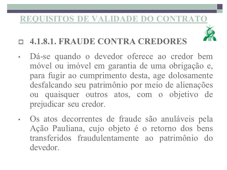 REQUISITOS DE VALIDADE DO CONTRATO