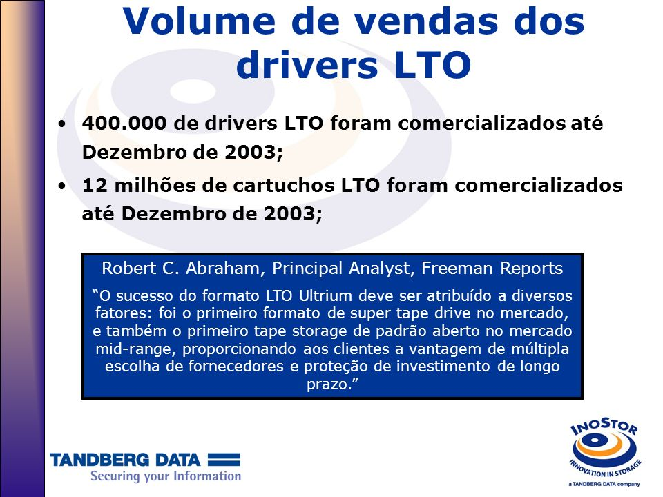 Volume de vendas dos drivers LTO