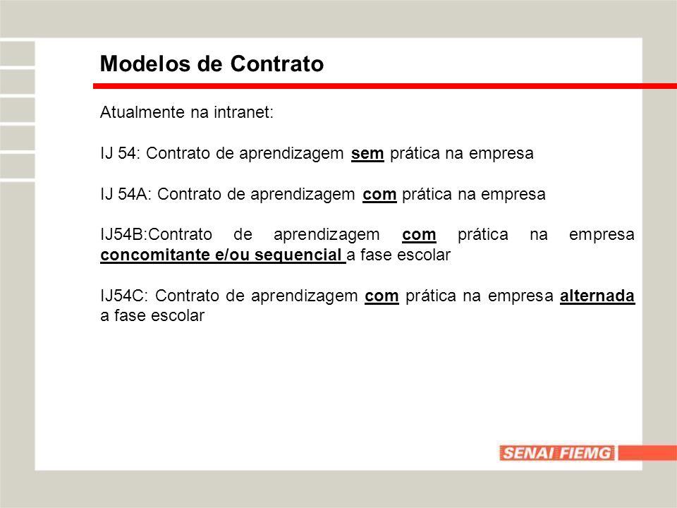 Modelos de Contrato Atualmente na intranet: