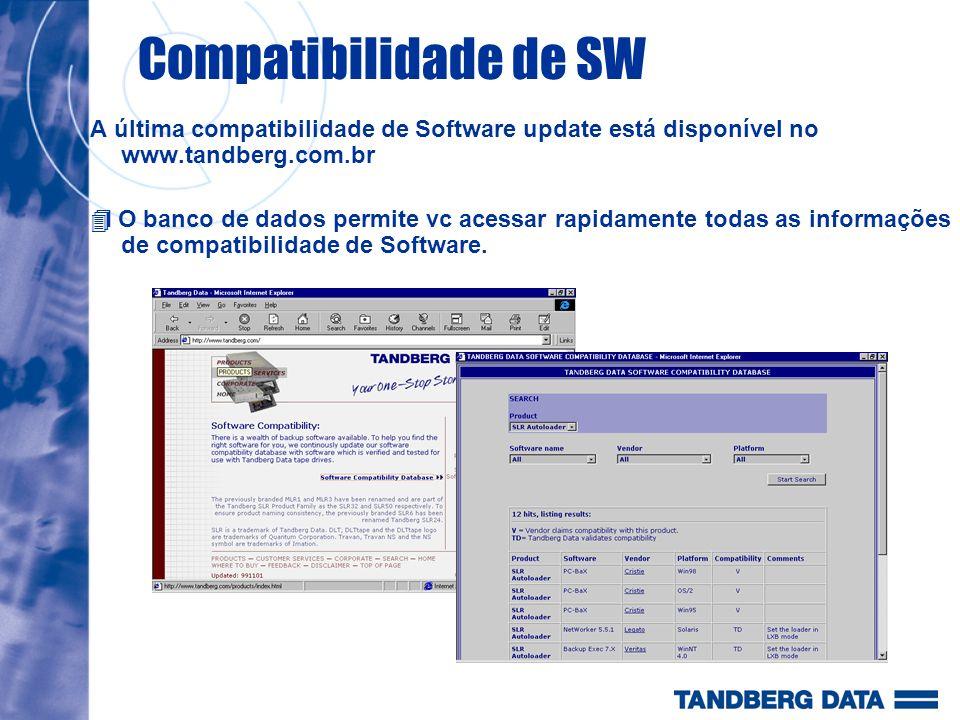 Compatibilidade de SW A última compatibilidade de Software update está disponível no www.tandberg.com.br.