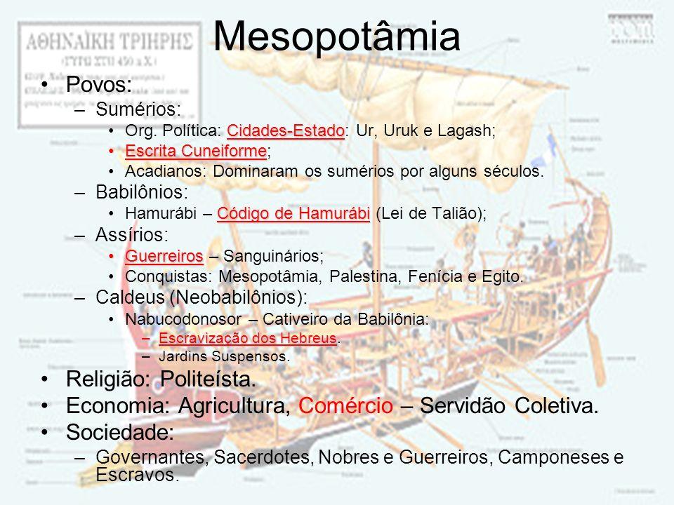 Mesopotâmia Povos: Religião: Politeísta.