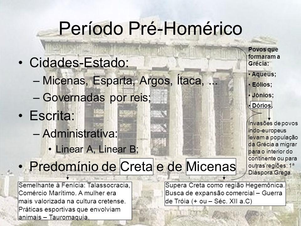Período Pré-Homérico Cidades-Estado: Escrita: