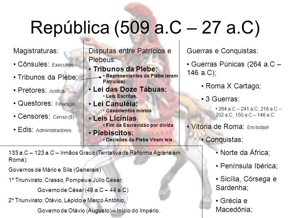República (509 a.C – 27 a.C) Magistraturas: Cônsules: Executivo.