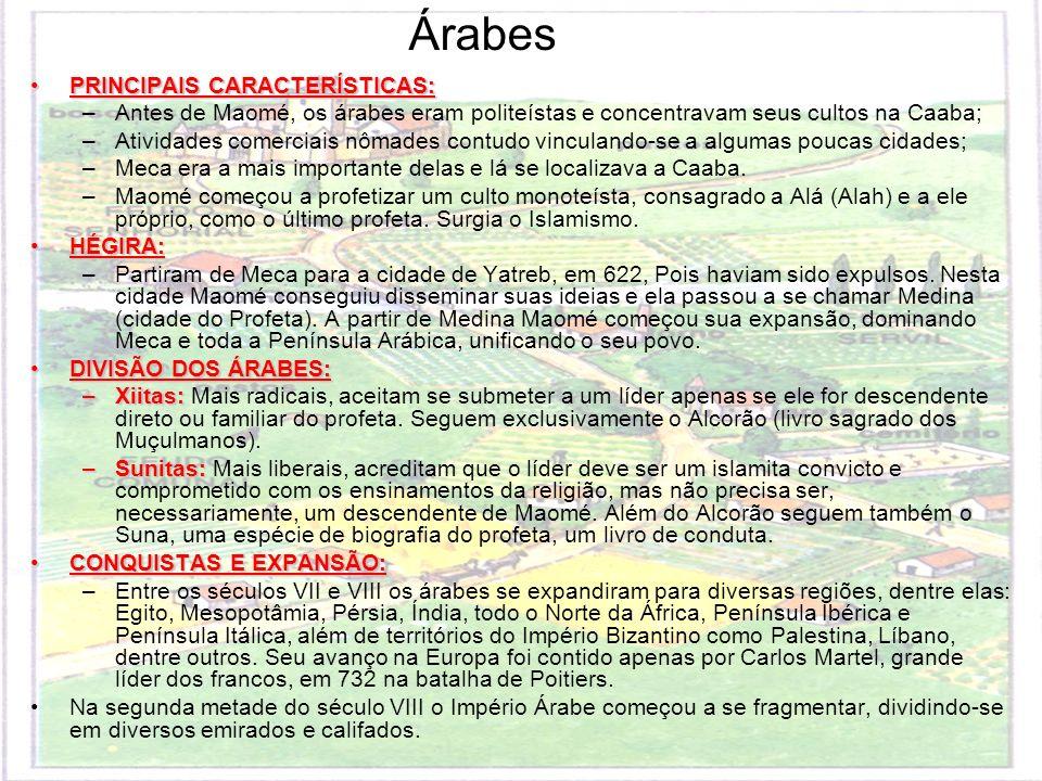 Árabes PRINCIPAIS CARACTERÍSTICAS: