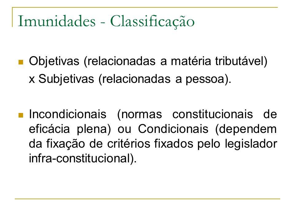 Imunidades - Classificação