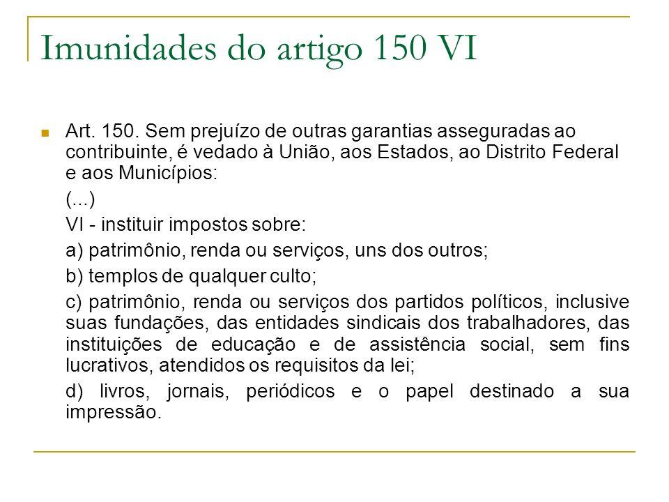 Imunidades do artigo 150 VI