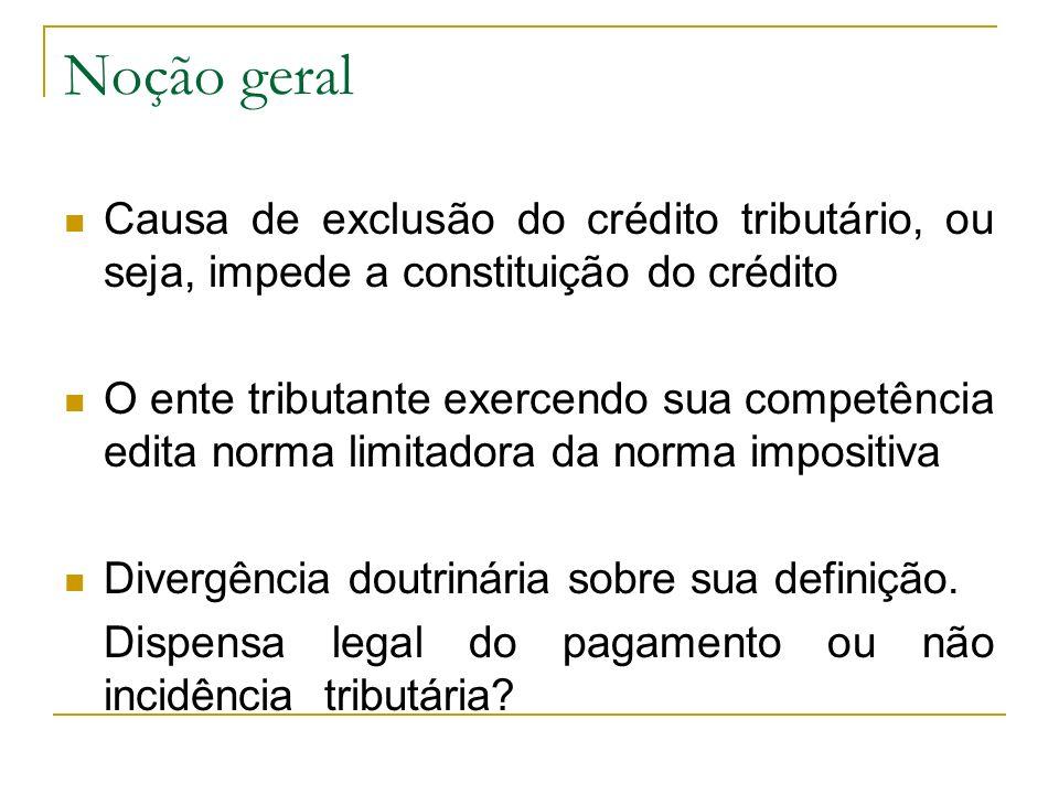 Noção geral Causa de exclusão do crédito tributário, ou seja, impede a constituição do crédito.