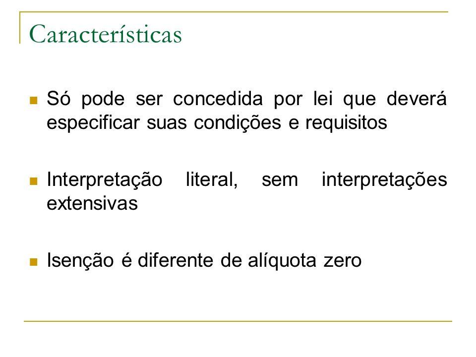 Características Só pode ser concedida por lei que deverá especificar suas condições e requisitos.