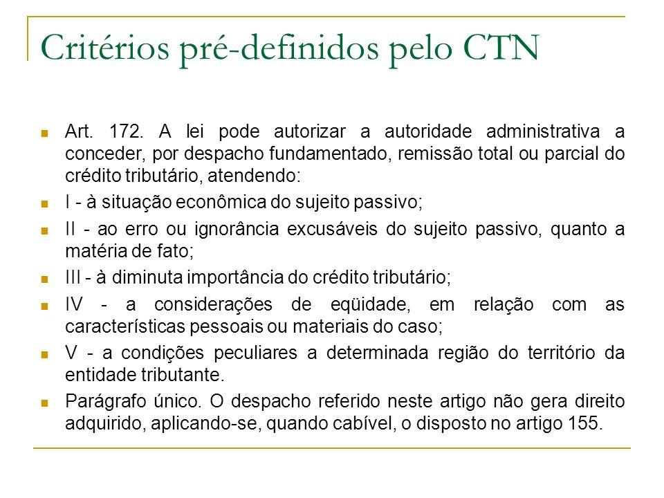 Critérios pré-definidos pelo CTN