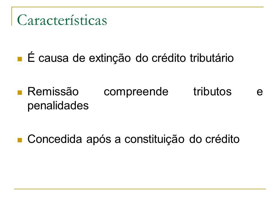 Características É causa de extinção do crédito tributário