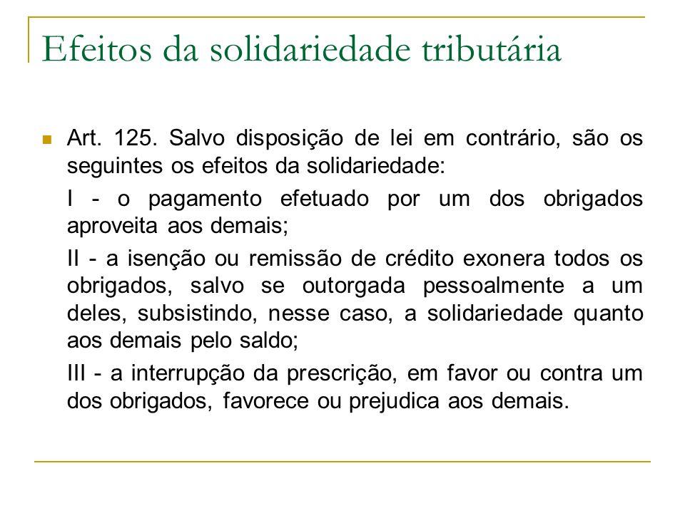 Efeitos da solidariedade tributária