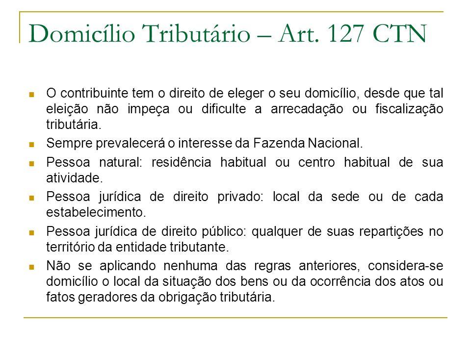 Domicílio Tributário – Art. 127 CTN