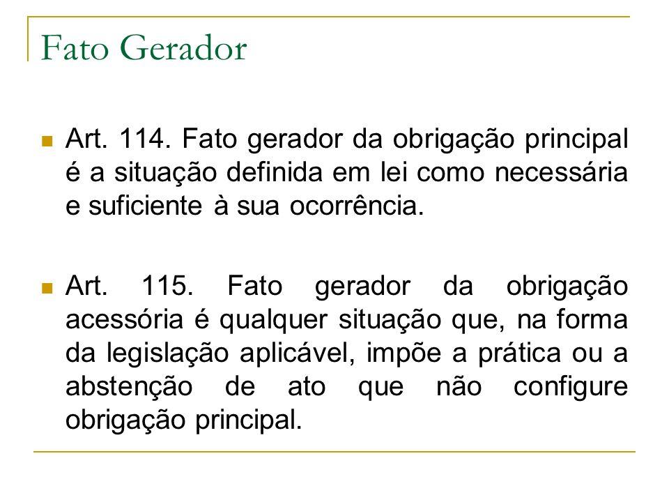 Fato Gerador Art. 114. Fato gerador da obrigação principal é a situação definida em lei como necessária e suficiente à sua ocorrência.