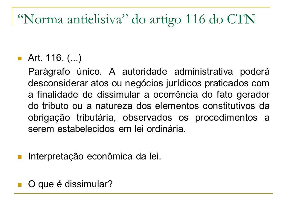 Norma antielisiva do artigo 116 do CTN