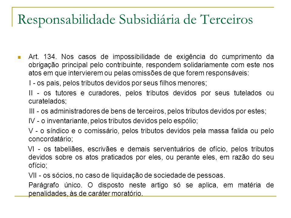 Responsabilidade Subsidiária de Terceiros