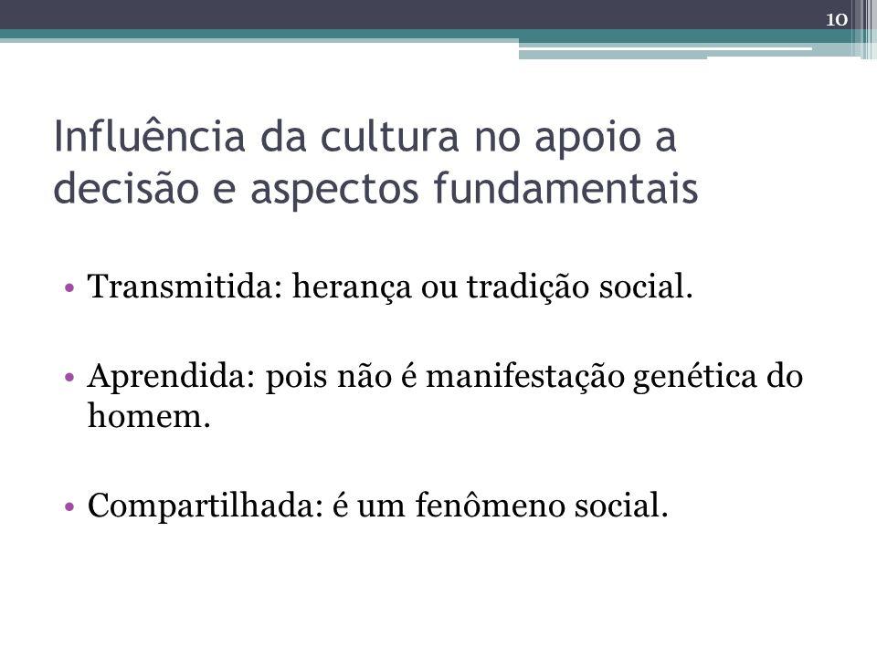 Influência da cultura no apoio a decisão e aspectos fundamentais