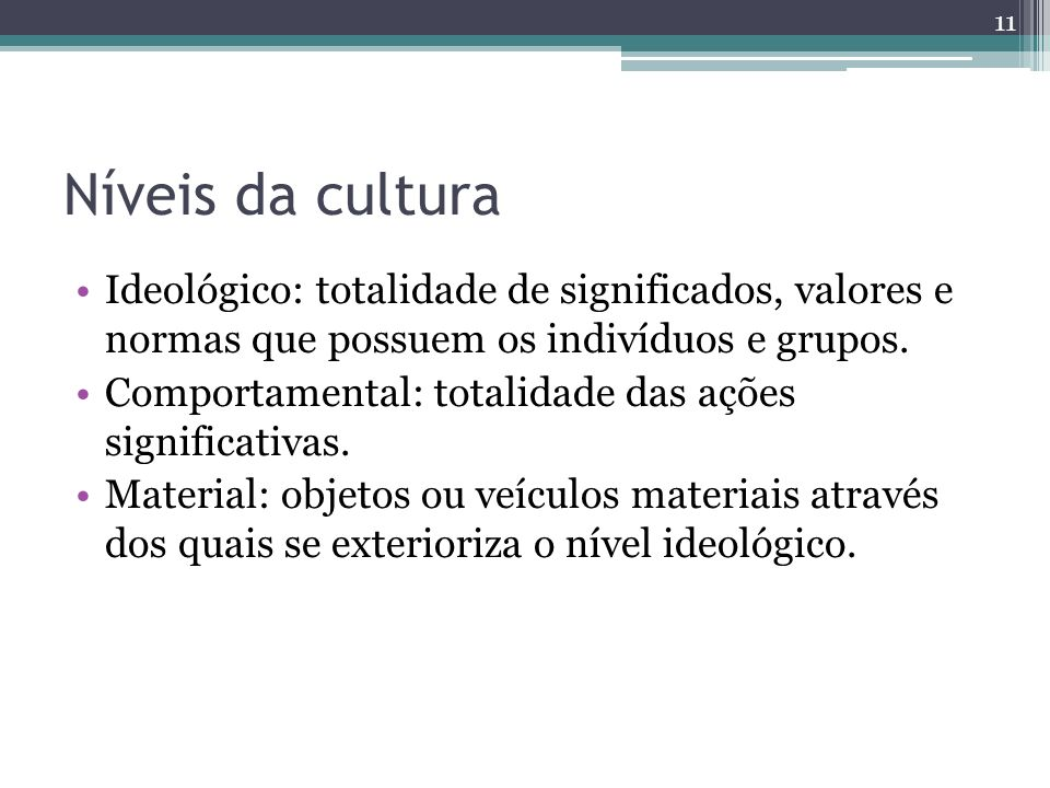 Níveis da cultura Ideológico: totalidade de significados, valores e normas que possuem os indivíduos e grupos.