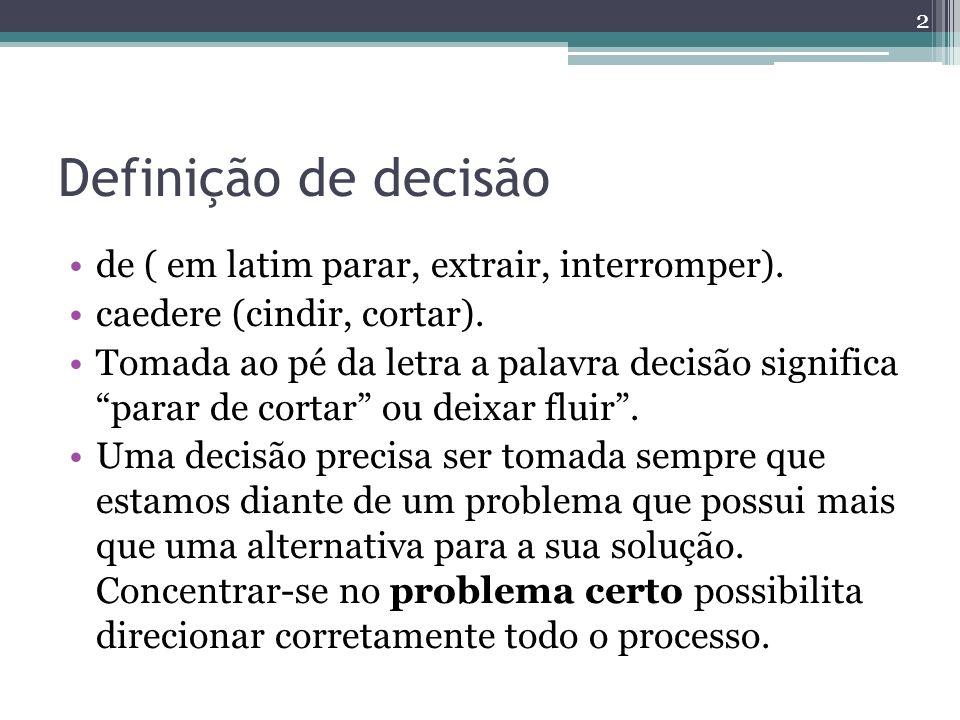 Definição de decisão de ( em latim parar, extrair, interromper).