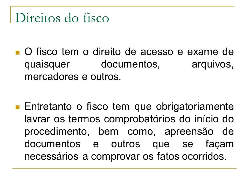 Direitos do fisco O fisco tem o direito de acesso e exame de quaisquer documentos, arquivos, mercadores e outros.