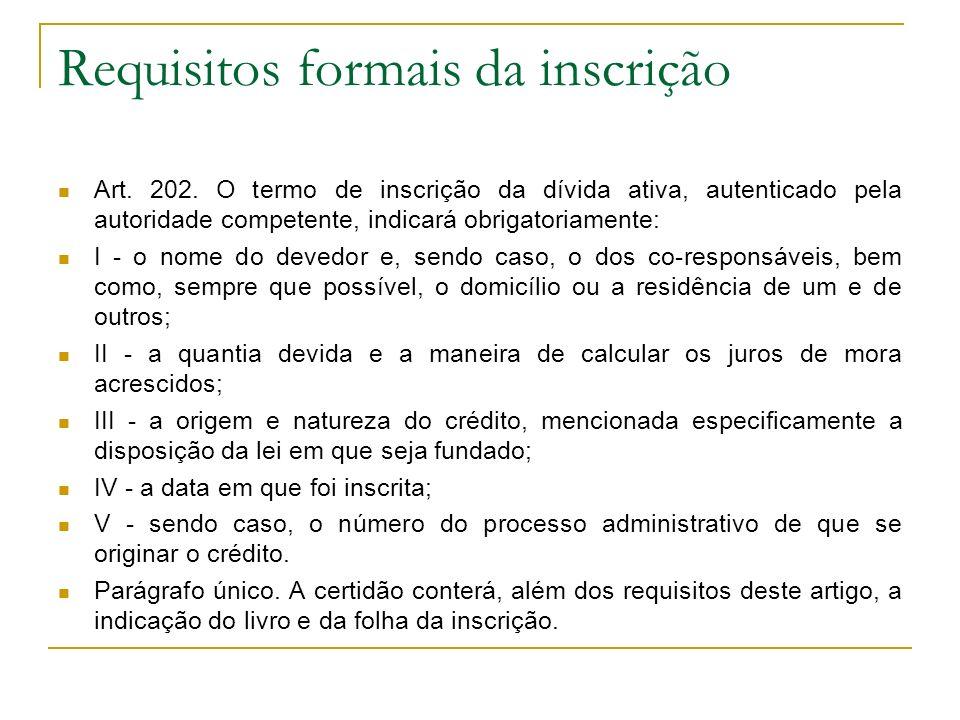 Requisitos formais da inscrição
