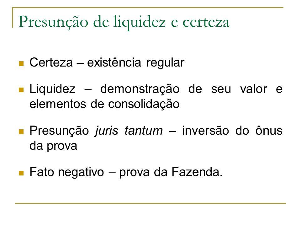 Presunção de liquidez e certeza
