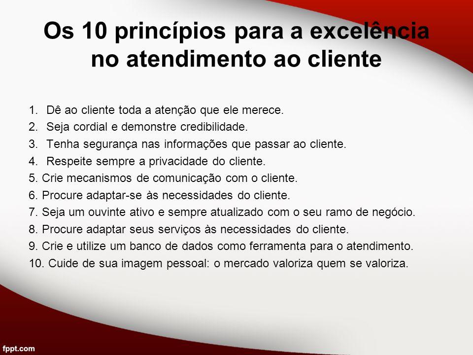 Os 10 princípios para a excelência no atendimento ao cliente