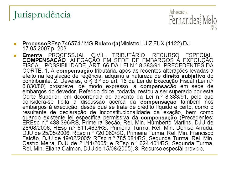 Jurisprudência ProcessoREsp 746574 / MG Relator(a)Ministro LUIZ FUX (1122) DJ 17.05.2007 p. 203.