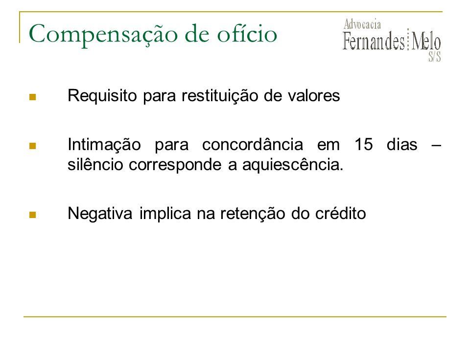 Compensação de ofício Requisito para restituição de valores