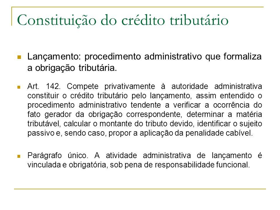 Constituição do crédito tributário