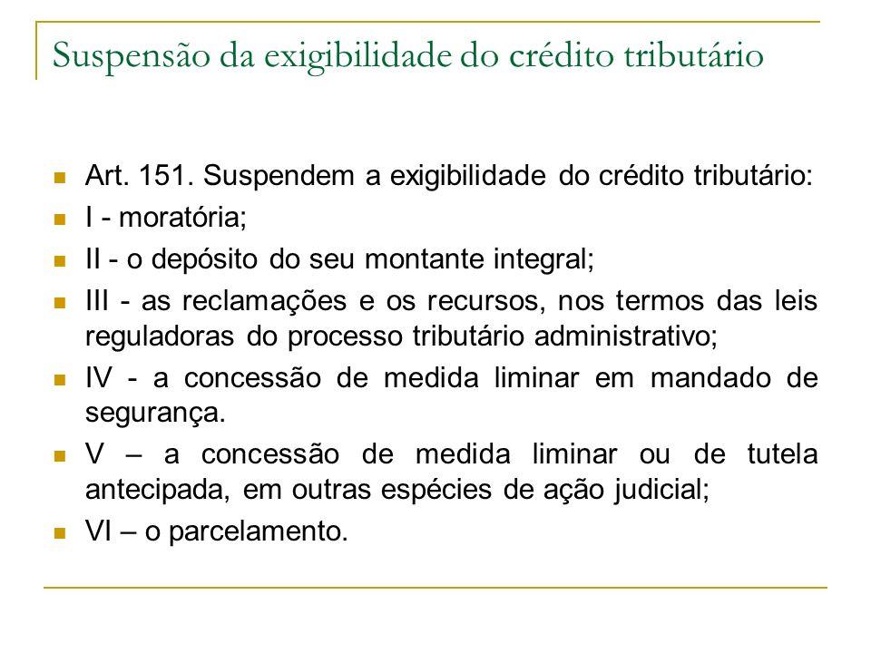 Suspensão da exigibilidade do crédito tributário