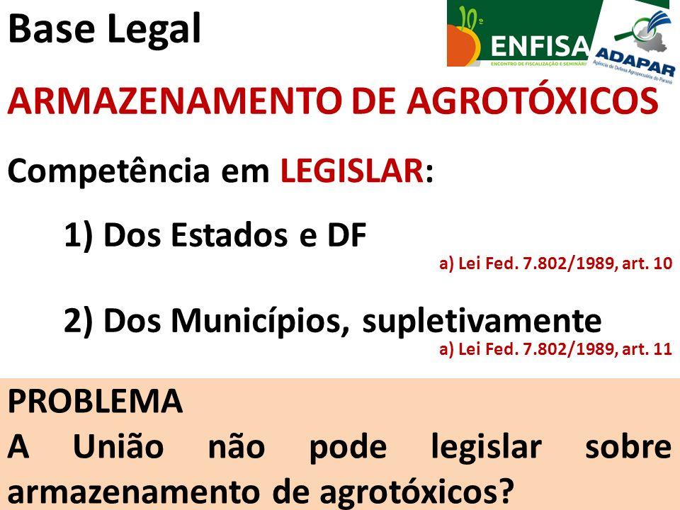 Base Legal ARMAZENAMENTO DE AGROTÓXICOS Competência em LEGISLAR:
