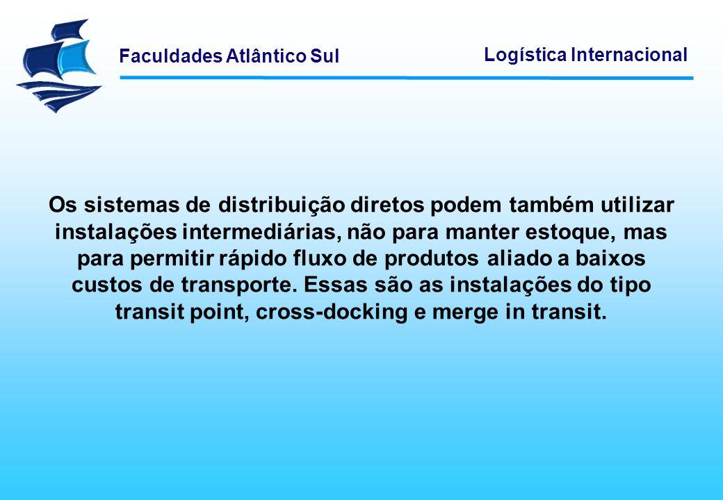 Os sistemas de distribuição diretos podem também utilizar instalações intermediárias, não para manter estoque, mas para permitir rápido fluxo de produtos aliado a baixos custos de transporte. Essas são as instalações do tipo transit point, cross-docking e merge in transit.