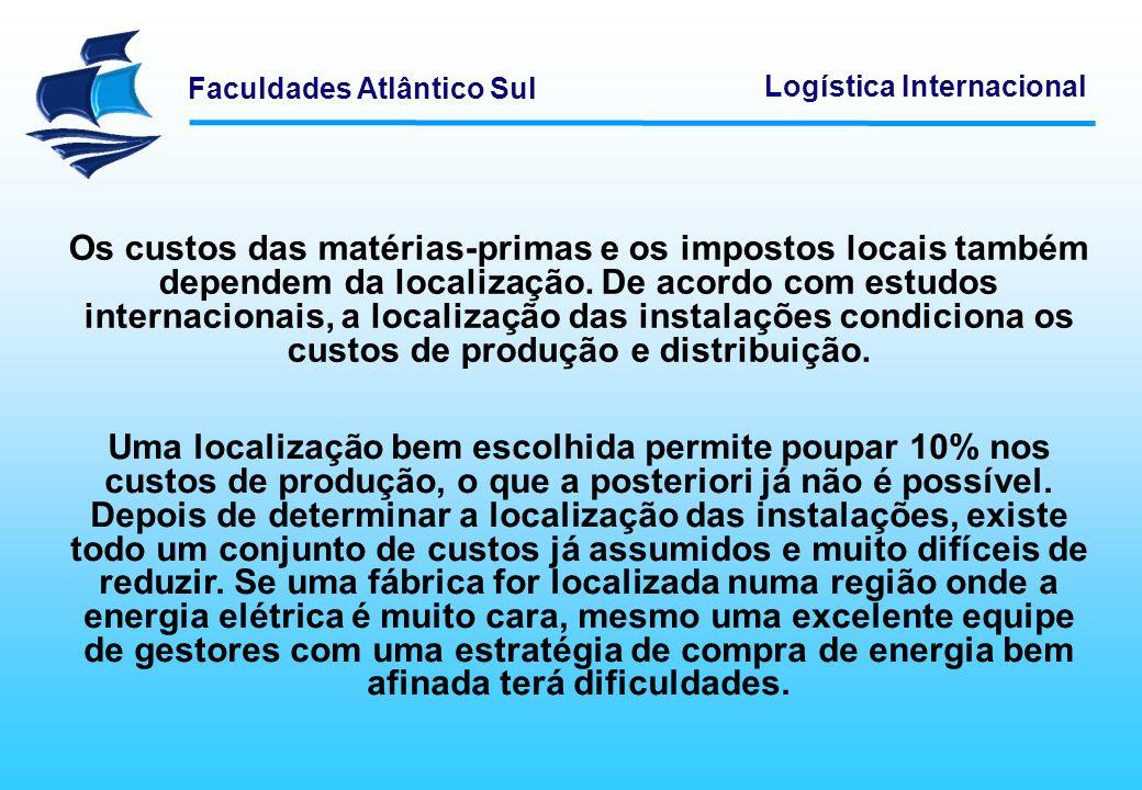 Os custos das matérias-primas e os impostos locais também dependem da localização. De acordo com estudos internacionais, a localização das instalações condiciona os custos de produção e distribuição.