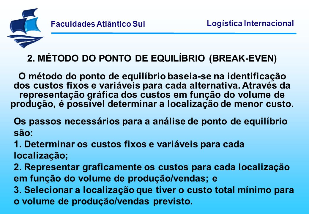 2. MÉTODO DO PONTO DE EQUILÍBRIO (BREAK-EVEN)