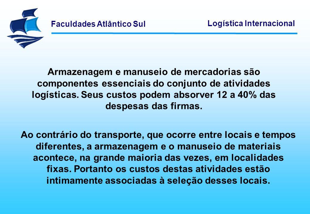 Armazenagem e manuseio de mercadorias são componentes essenciais do conjunto de atividades logísticas. Seus custos podem absorver 12 a 40% das despesas das firmas.