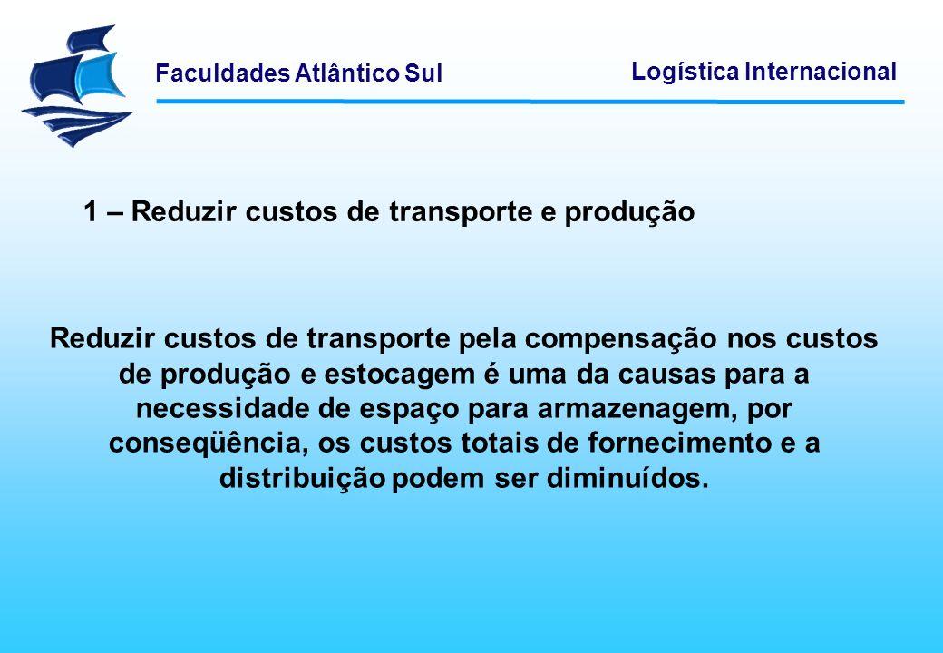 1 – Reduzir custos de transporte e produção