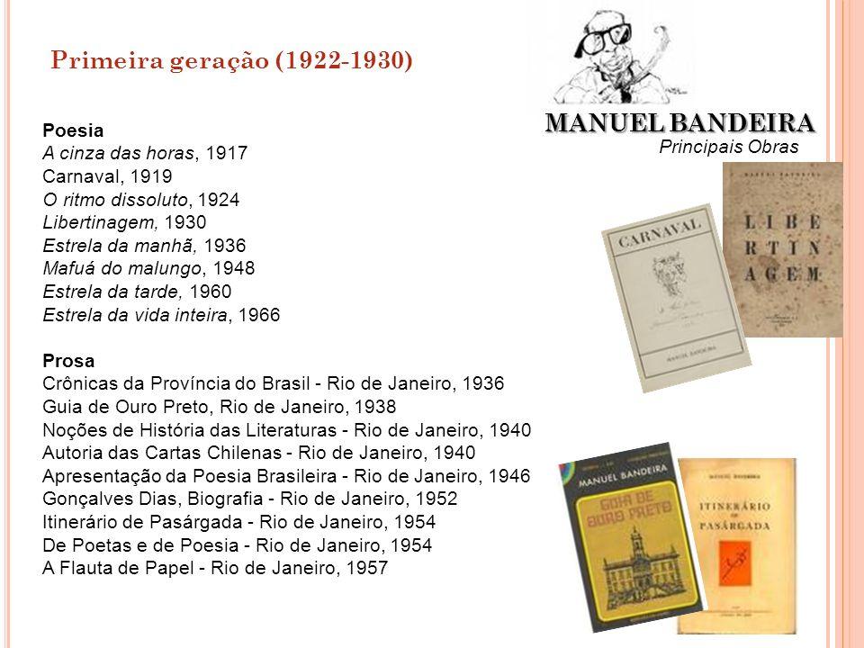 Primeira geração (1922-1930) MANUEL BANDEIRA Poesia