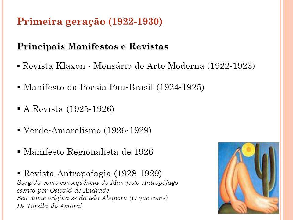 Primeira geração (1922-1930) Principais Manifestos e Revistas