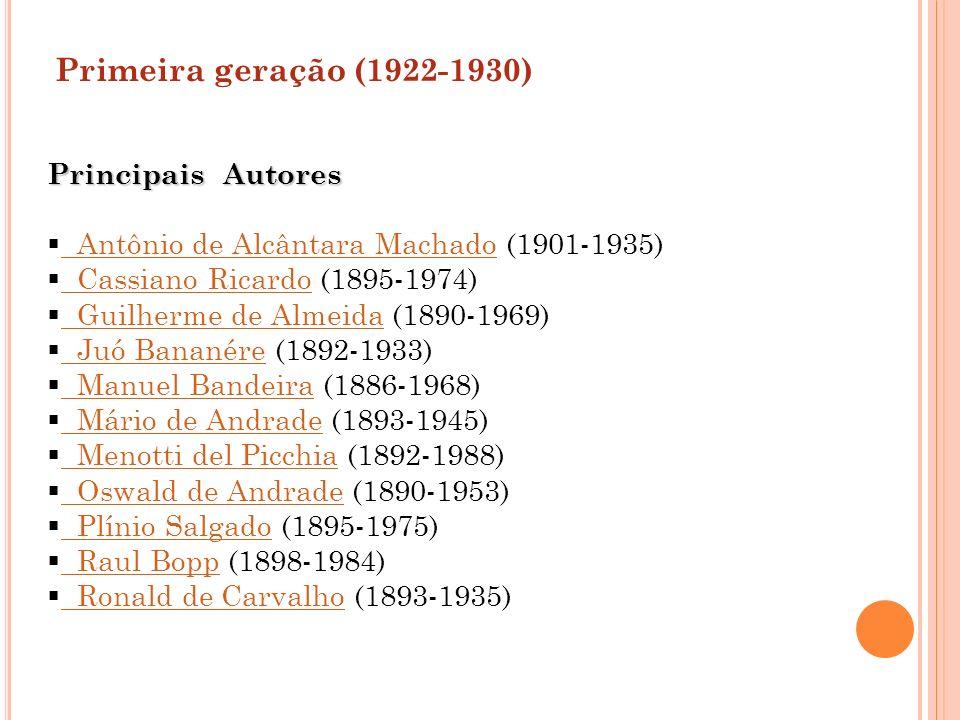 Primeira geração (1922-1930) Principais Autores